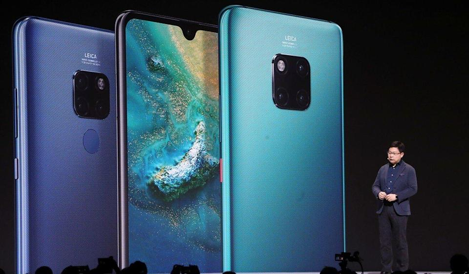 Richard Yu Chengdong, chief executive of Huawei Technologies Co's consumer business group, launches the Mate 30 smartphone range in Munich, Germany, on September 19, 2019. Photo: Reuters