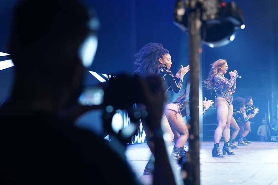 Aaron pictured here performing for his new documentary, The Beyoncé Experience by Blaise Singh (PA Real Life/Together TV)