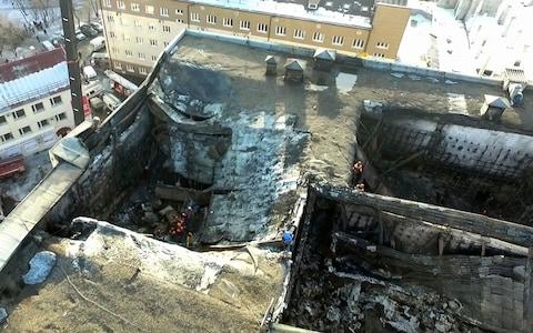 Russian shopping centre fire - Credit: Russian Ministry for Emergency Situations/AP