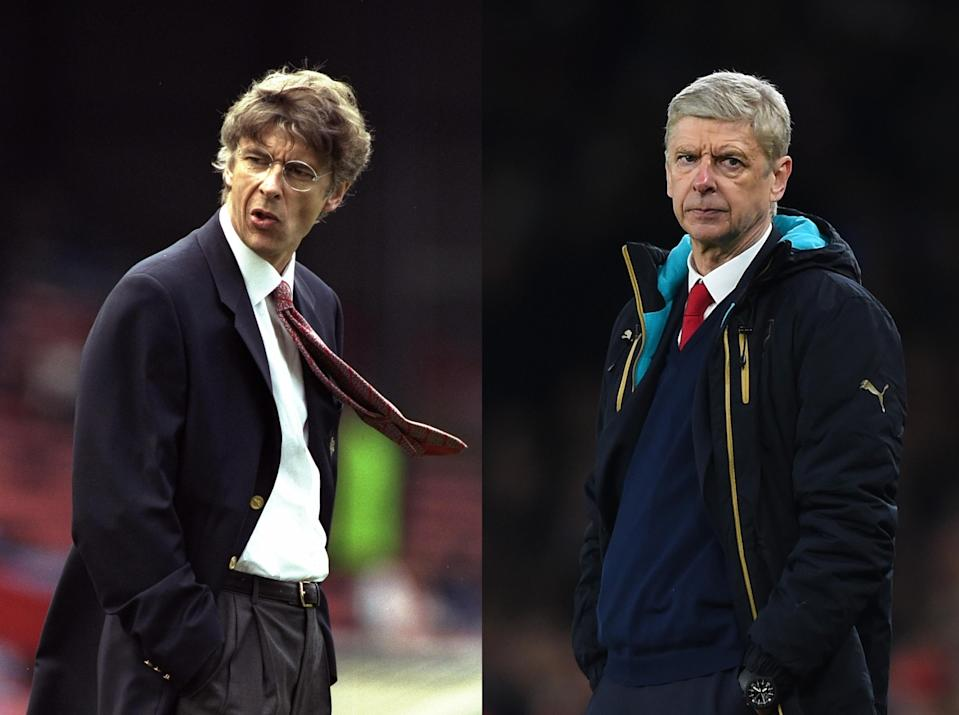 Arsene Wenger in 1996 (left) and 2016 (right). (Getty)