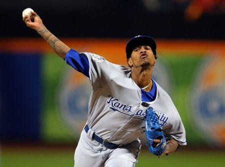 FILE PHOTO: Kansas City Royals starting pitcher Yordano Ventura throws a pitch against the New York Mets in the first inning in game three of the World Series at Citi Field in New York City October 30, 2015. Brad Penner-USA TODAY Sports/File Photo