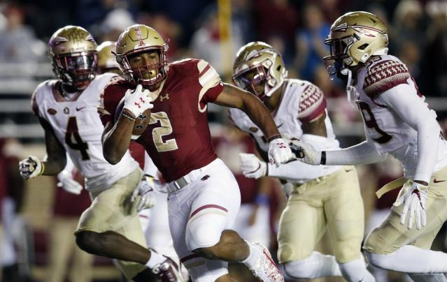 Boston College running back AJ Dillon (2) is a sleeper Heisman candidate as a sophomore. (AP Photo/Michael Dwyer)