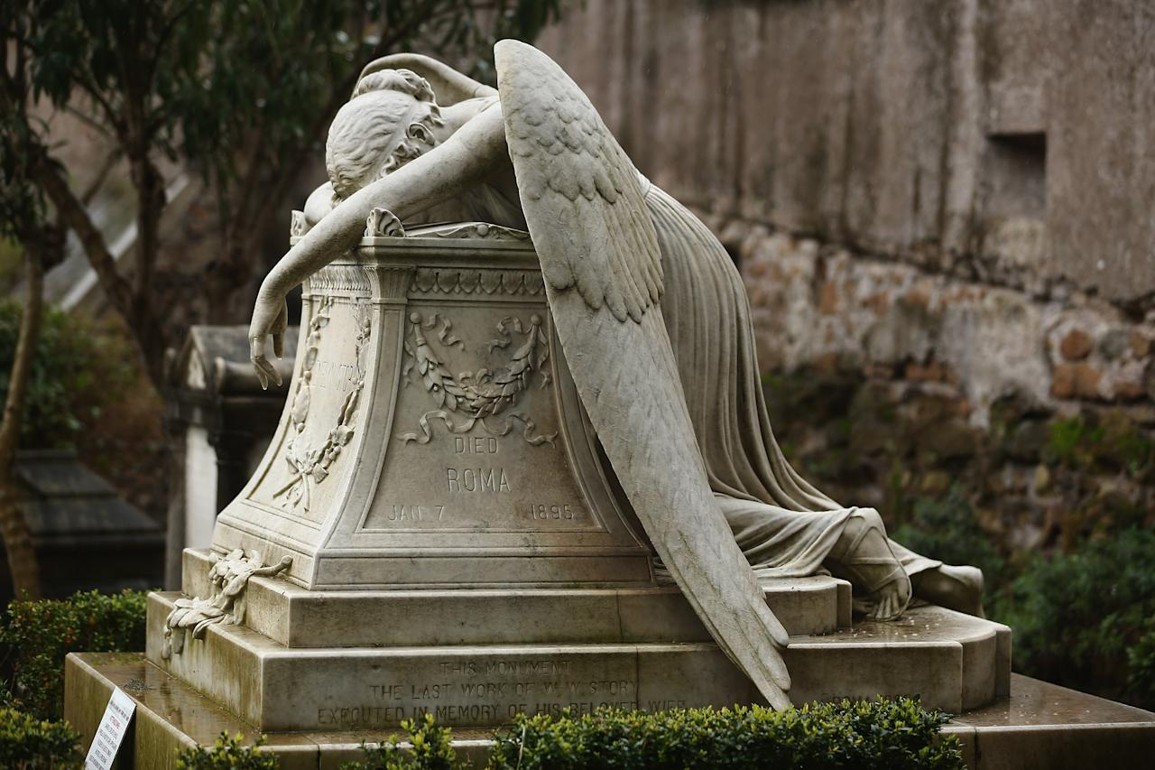 ROME, ITALY - MARCH 26:  The gravestone of prominent American sculptor William Wetmore Story's wife Emelyn, stands in Rome's 'Non Catholic Cemetery' on March 26, 2013 in Rome, Italy. After working as a sculptor for 40 years Wetmore died in 1895, and was buried in the same tomb. Rome's Non-Catholic Cemetery contains one of the highest densities of famous and important graves anywhere in the world including John Keats, one of England's most famous poets, who died early in 1820 of tuberculosis aged 25, after travelling to Italy in search of a better climate to help cure him of the disease. As well as being the final resting-place of the poets Percy Shelley and John Keats, it is also home to graves of many other painters, sculptors and authors who died in Rome. The cemetery which began it's use in 1730 continues today, containing graves of Orthodox Christians, Jews, Muslims and other non-Christians, and is one of the oldest burial grounds in Europe.  (Photo by Dan Kitwood/Getty Images)