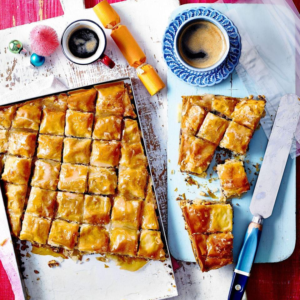"""<p>This Christmas-spiced twist on a Middle Eastern classic is the ideal sweet treat to accompany tea and coffee.</p><p><strong>Recipe: <a href=""""https://www.goodhousekeeping.com/uk/christmas/christmas-recipes/a34770377/chocolate-baklava/"""" rel=""""nofollow noopener"""" target=""""_blank"""" data-ylk=""""slk:Chocolate Baklava"""" class=""""link rapid-noclick-resp"""">Chocolate Baklava</a></strong></p>"""