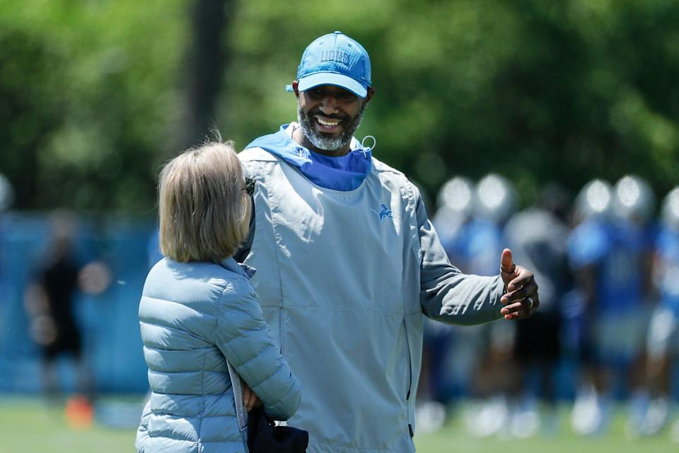 Detroit Lions owner Sheila Ford Hamp talks to general manager Brad Holmes during organized team activities at Lions headquarters in Allen Park, Thursday, May 27, 2021.