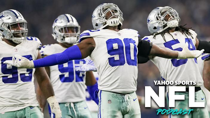 "<a class=""link rapid-noclick-resp"" href=""/nfl/players/27562/"" data-ylk=""slk:Demarcus Lawrence"">Demarcus Lawrence</a> and the Dallas Cowboys defense celebrate during a game in 2019. (Photo by Andrew Dieb/Icon Sportswire via Getty Images)"
