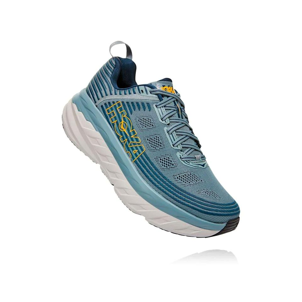 """<p>hokaoneone.com</p><p><a href=""""https://go.redirectingat.com?id=74968X1596630&url=https%3A%2F%2Fwww.hokaoneone.com%2Fsale%2Fbondi-6%2F1019269.html&sref=https%3A%2F%2Fwww.menshealth.com%2Ftechnology-gear%2Fg36099041%2Fhoka-one-one-2021-sale%2F"""" rel=""""nofollow noopener"""" target=""""_blank"""" data-ylk=""""slk:BUY IT HERE"""" class=""""link rapid-noclick-resp"""">BUY IT HERE</a></p><p><strong><del>$150<br></del> $119.99<br></strong>The Bondi is the shoe that started the thick-soled craze. Back when barefoot-like shoes ruled, Hoka built the thickest trail shoe you ever saw for crushing Alpine descents. The Bondi was its road-running follow-up, and was a massive hit. It's still the softest shoe you're going to slip your feet into—and that lightweight cushioning feels <em>oh so good</em> on easy days. </p>"""