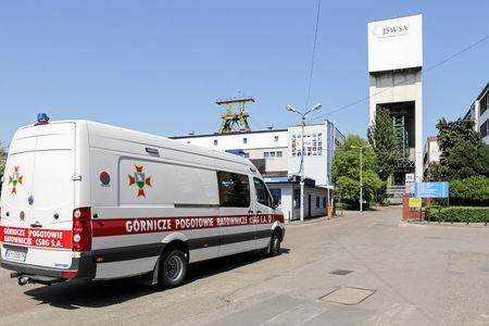 Emergency vehicle parks outside the JSW mine where coal miners are missing underground after a strong quake hit a mine in Jastrzebie Zdroj, Poland May 5, 2018.  Agencja Gazeta/Dominik Gajda via REUTERS