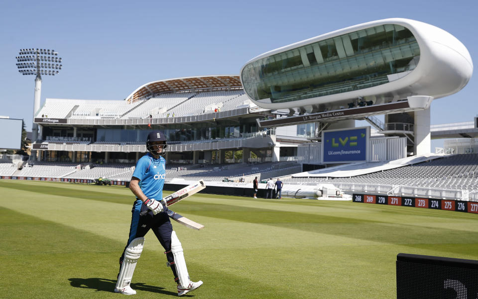 England's Joe Root walks from the field during a practice session at Lord's Cricket Ground in London, Tuesday, June 1, 2021.New Zealand will play England in the first of two cricket tests here starting June 2. (AP Photo/Andy Couldridge/Pool)