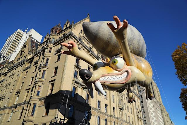 "<p>""Ice Age's"" Scrat & His Acorn give chase down Central Park West in the 91st Macy's Thanksgiving Day Parade in New York, Nov. 23, 2017. (Photo: Gordon Donovan/Yahoo News) </p>"