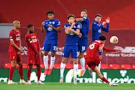Liverpool right-back Trent Alexander-Arnold of Liverpool scores his team's second goal during the Premier League match against Chelsea. (PHOTO: Laurence Griffiths/Getty Images)
