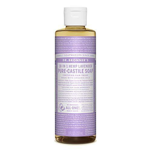 """<p><strong>Dr. Bronner's</strong></p><p>amazon.com</p><p><a href=""""https://www.amazon.com/dp/B00028NFQQ?tag=syn-yahoo-20&ascsubtag=%5Bartid%7C10049.g.35031720%5Bsrc%7Cyahoo-us"""" rel=""""nofollow noopener"""" target=""""_blank"""" data-ylk=""""slk:Shop Now"""" class=""""link rapid-noclick-resp"""">Shop Now</a></p><p>For those who shower at night, opt to scrub down with this lavender-scented castile liquid soap, so you can soothe yourself into a more relaxed state even before your jammies are on. This soap is biodegradable and vegan, and you can even use it as a <a href=""""https://www.bestproducts.com/home/decor/g1435/eco-friendly-products/"""" rel=""""nofollow noopener"""" target=""""_blank"""" data-ylk=""""slk:green-friendly cleaning product"""" class=""""link rapid-noclick-resp"""">green-friendly cleaning product</a> in a pinch.</p>"""