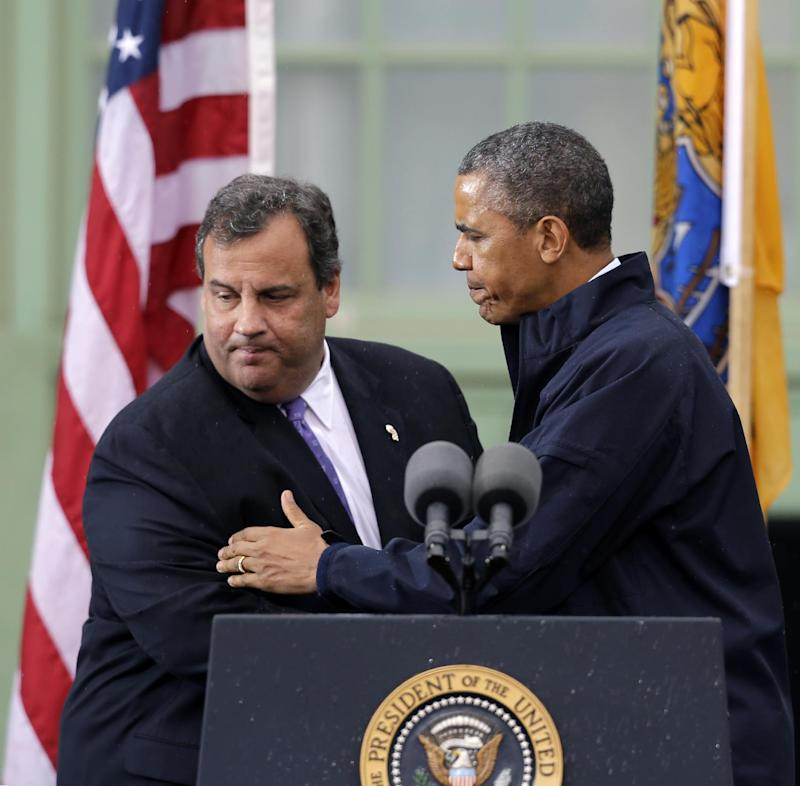 FILE - In this May 28, 2013, photo, President Barack Obama reacts to his introduction by New Jersey Gov. Chris Christie in Asbury Park, N.J. One major principle of Obama's presidency that his foes love to hate _ that government, when it works right, can be best-equipped to aid and protect Americans _ is finding fresh currency among some Republicans. Obama walked side by side Christie, a fiscal conservative who has shown no patience for massive government spending _ except when it comes to billions in federal aid for his state after Superstorm Sandy. In fact, it was Christie and other Northeast Republicans who blasted members of their own party for insisting that Federal Emergency Management Agency aid be offset by cuts elsewhere in the federal budget.  (AP Photo/Mel Evans)