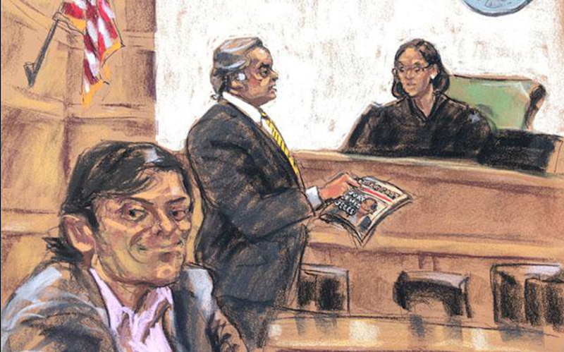 """This sketch of Martin Shkreli, the """"Pharma bro"""" who's been widely hated since 2015, was depicted by the same artist responsible for the infamous depiction of Tom Brady. This time around, she seemed to incorporate the public opinion about Shkreli ever since he raised the price of a lifesaving drug by more than 5,000 percent into the sketch—no doubt appreciated by the jury, who's so far reportedly called him both a """"snake"""" and a """"dick."""""""