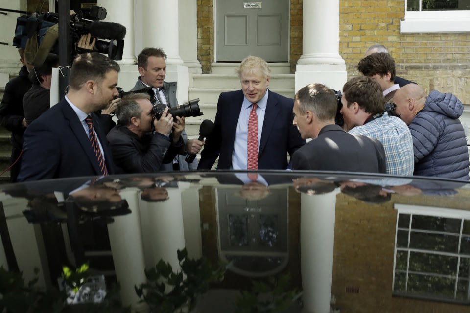 British Conservative Party leadership and prime minister contender Boris Johnson gets in a car as he leaves home in south London, Friday, June 21, 2019. Britain's next leader will be chosen by about 160,000 members of the governing Conservative Party in a runoff between two candidates: former Foreign Secretary Boris Johnson and current Foreign Secretary Jeremy Hunt. (AP Photo/Matt Dunham)