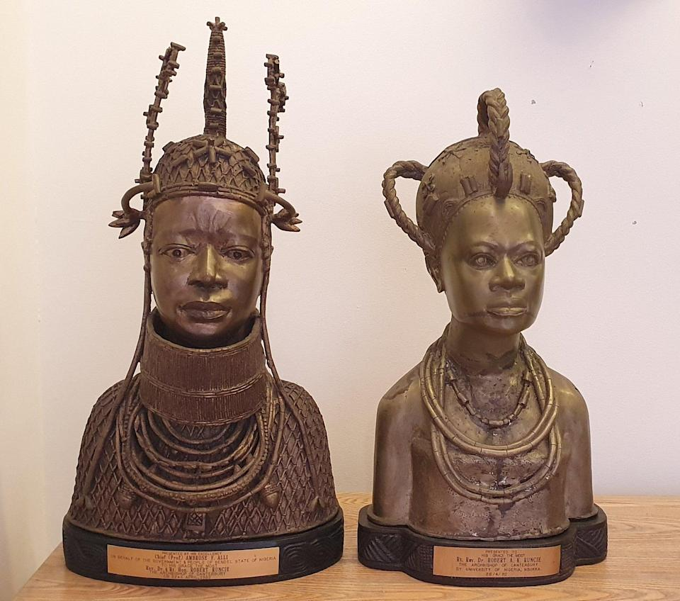 <p>Two Benin Bronzes which the Church of England intend to return to Africa</p> (Lambeth Palace)