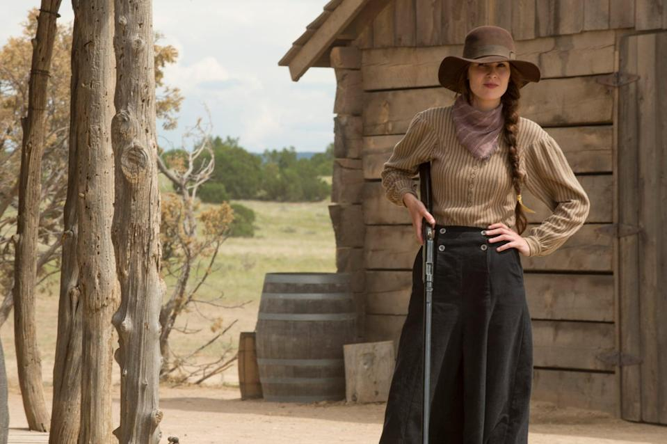"""<p>Set in a Wild West town run by women, <strong>Godless</strong> challenges every trope Hollywood has ever established for the Western genre. Here, the women aren't waiting to be rescued, they're running the show. And while their town is no utopia, it's a place where they are all free to be exactly who they are without fear of judgment. </p> <p><a href=""""https://www.netflix.com/title/80097141"""" class=""""link rapid-noclick-resp"""" rel=""""nofollow noopener"""" target=""""_blank"""" data-ylk=""""slk:Watch Godless on Netflix now"""">Watch <strong>Godless</strong> on Netflix now</a>.</p>"""