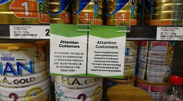 The differing limits of baby formula was noticed by a number of customers. Source: Facebook