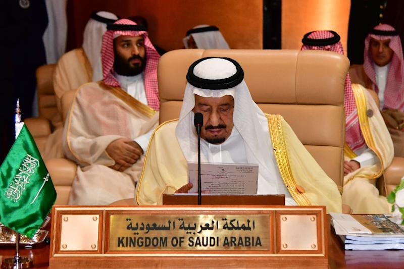 King Salman speaks at the 29th Summit of the Arab League at the Ithra center in Dhahran, Eastern Saudi Arabia, on April 15, 2018 (AFP Photo/STR)