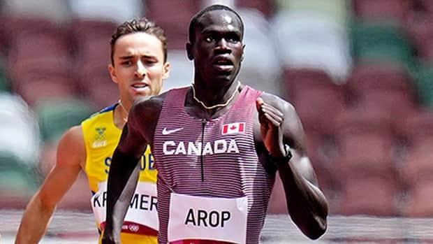 In three Diamond League races since the Olympics, Marco Arop of Edmonton has won the men's 800 metres in Oregon and Switzerland while finishing third in Paris to climb to third in the world rankings. (James Lang-USA TODAY Sports via Reuters - image credit)