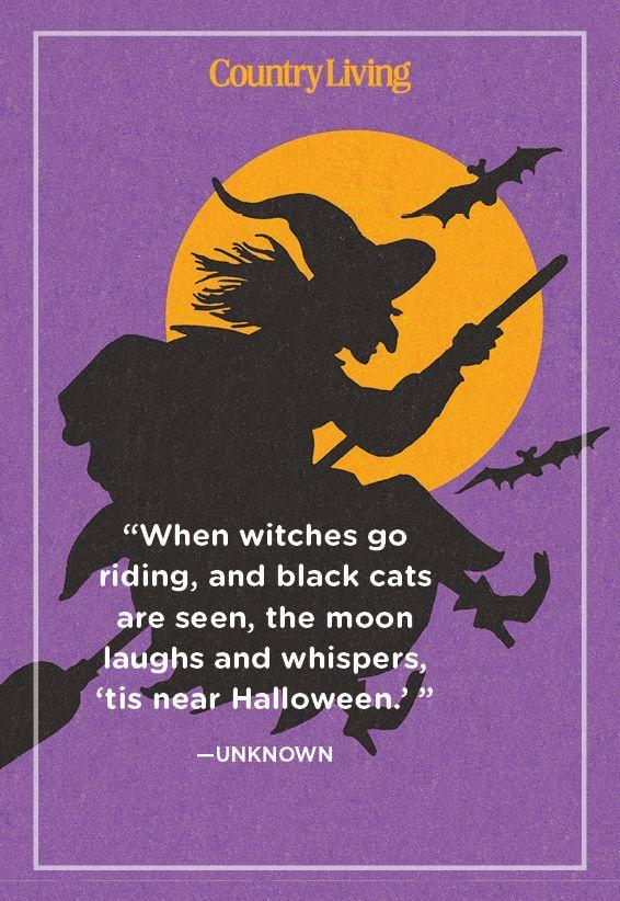 """<p>""""When witches go riding, and black cats are seen, the moon laughs and whispers, 'tis near Halloween.' """"</p>"""