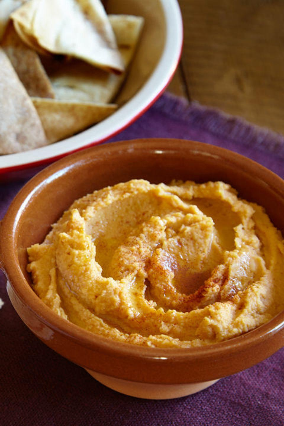 """<p>Put leftover sweet potatoes to use in a flavorful hummus.</p><p><strong>Get the recipe at <a href=""""http://www.delish.com/holiday-recipes/thanksgiving/recipes/a44323/leftover-sweet-potato-hummus-recipe/"""" rel=""""nofollow noopener"""" target=""""_blank"""" data-ylk=""""slk:Delish"""" class=""""link rapid-noclick-resp"""">Delish</a>.</strong></p>"""