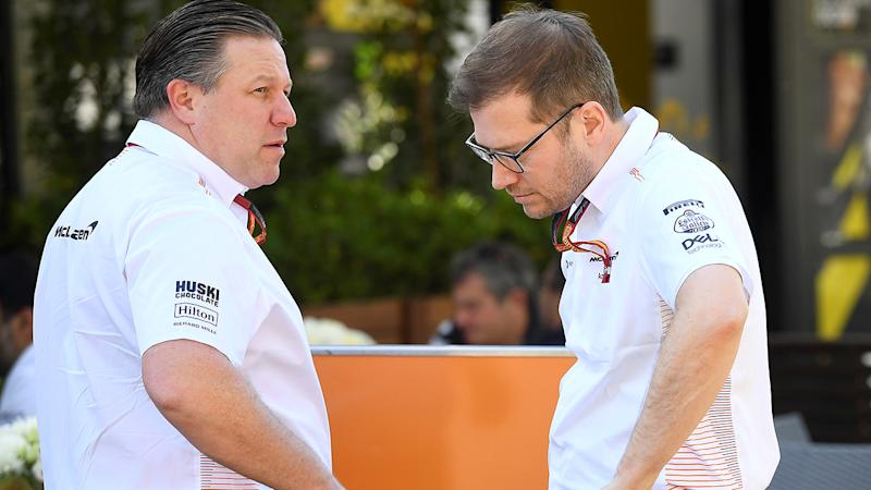 Zak Brown, chief executive of McLaren Racing, pictured here talking to a team member in Melbourne.