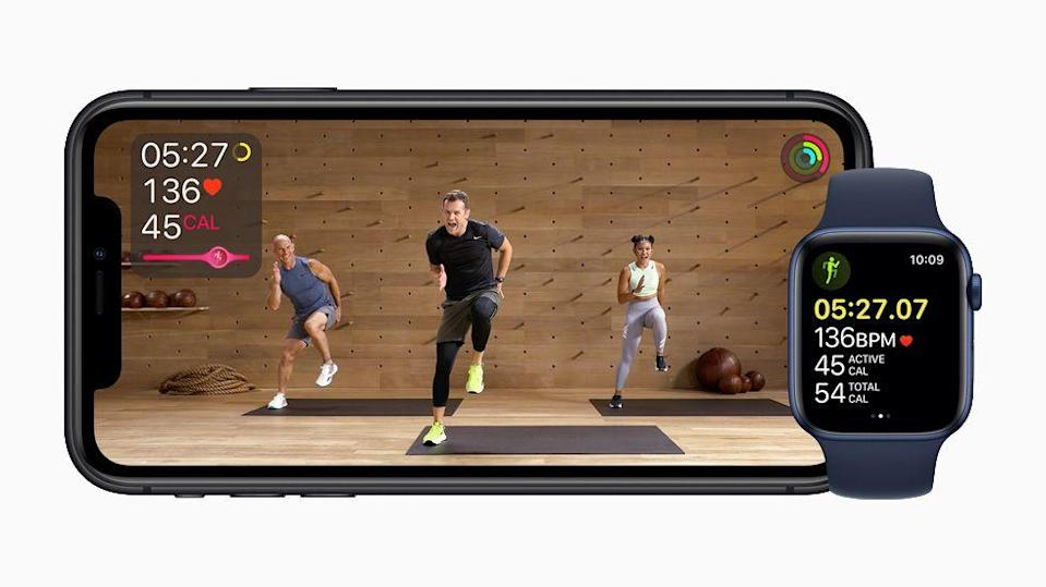 "<p>Apple launched its first fitness experience earlier this month. <a href=""https://www.menshealth.com/uk/fitness/a34961603/apple-fitness-review/"" rel=""nofollow noopener"" target=""_blank"" data-ylk=""slk:Apple Fitness+"" class=""link rapid-noclick-resp"">Apple Fitness+ </a>incorporates metrics from your Apple Watch into personalised fitness workout videos, available to view on all Apple devices. Dozens of workouts are available, from rowing to dance and cycling to yoga. Apple Fitness+ aims to keep you motivated by highlighting your metrics on screen at key points during your workout and displaying a calorie-burn graphic to signpost your efforts in certain workouts and see how it stacks up against other users. The only catch is – unsurprisingly – you need an Apple Watch.</p>"