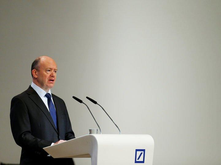 Deutsche Bank CEO John Cryan speaks during the bank's annual general meeting in Frankfurt, Germany May 18, 2017. REUTERS/Ralph Orlowski