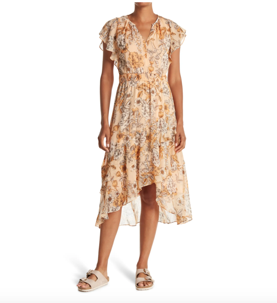 """<h2>London Times Midi Dress</h2><br>Reviewers seem to agree that the best part about this dress is not the eye-catching print (although we do love that part of it) but its flattering fit. The high-low hem makes for a romantic silhouette that is comfortably cinched at the waist.<br><br><strong>The Hype:</strong> 4.8 out of 5 stars; 4 reviews on <a href=""""https://www.nordstromrack.com/s/london-times-floral-high-low-hem-midi-dress/6025848"""" rel=""""nofollow noopener"""" target=""""_blank"""" data-ylk=""""slk:NordstromRack.com"""" class=""""link rapid-noclick-resp"""">NordstromRack.com</a><br><br><strong>What They're Saying:</strong> """"Was looking for a comfortable dress that could be worn casually (with a jean jacket to brunch) or dressed up (with strappy heels to a summer wedding) and this dress does :-) Since I'm 5'4"""" it's more of a maxi length on me - back hem hits my ankles... the fit is quite flattering with a v-neckline [and] loosely smocked waist."""" — CAJoy, NordstromRack.com reviewer<br><br><strong>London Times</strong> High/Low Hem Midi Dress, $, available at <a href=""""https://go.skimresources.com/?id=30283X879131&url=https%3A%2F%2Fwww.nordstromrack.com%2Fs%2Flondon-times-floral-high-low-hem-midi-dress%2F6025848"""" rel=""""nofollow noopener"""" target=""""_blank"""" data-ylk=""""slk:Nordstrom Rack"""" class=""""link rapid-noclick-resp"""">Nordstrom Rack</a>"""