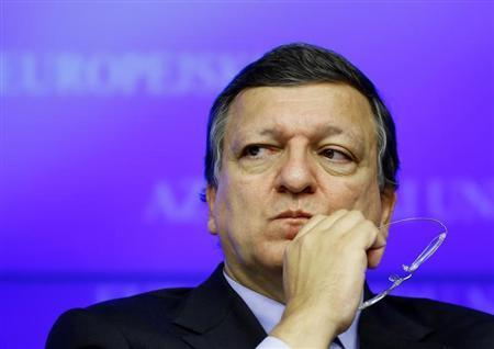 European Commission President Barroso looks on at a news conference after a Tripratite Social Summit ahead of an EU leaders meeting in Brussels