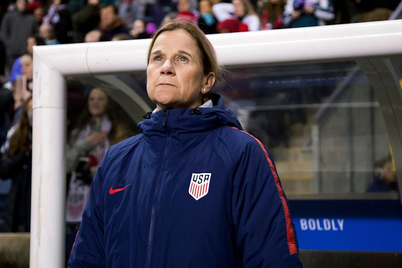 FILE - In this Feb. 27, 2019, file photo, USA head coach Jill Ellis looks on before the first half of SheBelieves Cup soccer match against Japan in Chester, Pa. FIFA's financial results underscore the glaring disparity between men and women's soccer. France banked $38 million from FIFA for winning the championship in 2018, but the women's champion this July will earn just $4 million. Ellis, who is leading her team's title defense in France, said she is disappointed with the financial rewards. (AP Photo/Chris Szagola, File)
