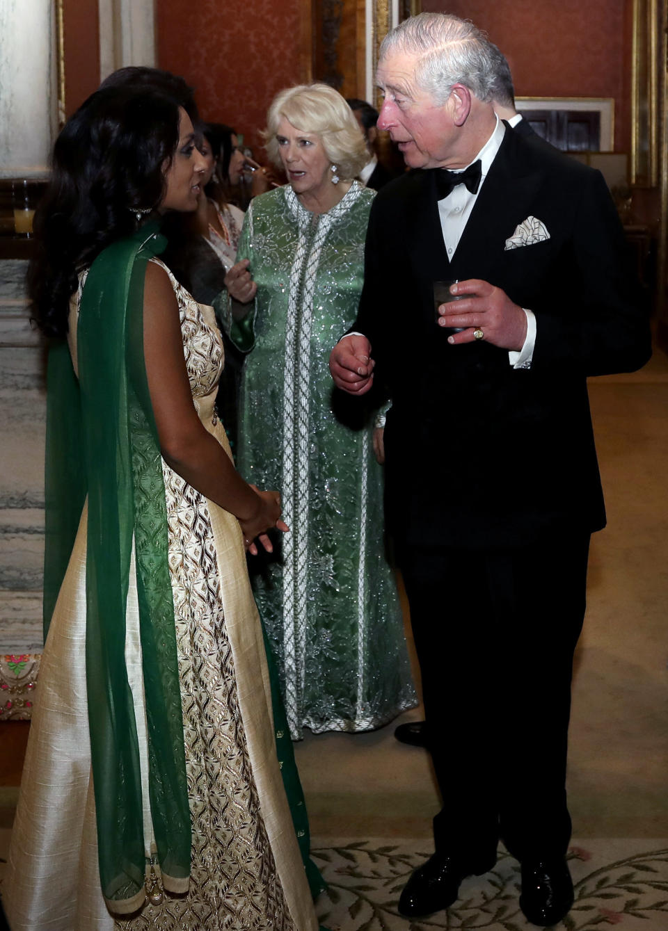 Camilla looked striking in the embellished floor-length gown. [Photo: Getty]