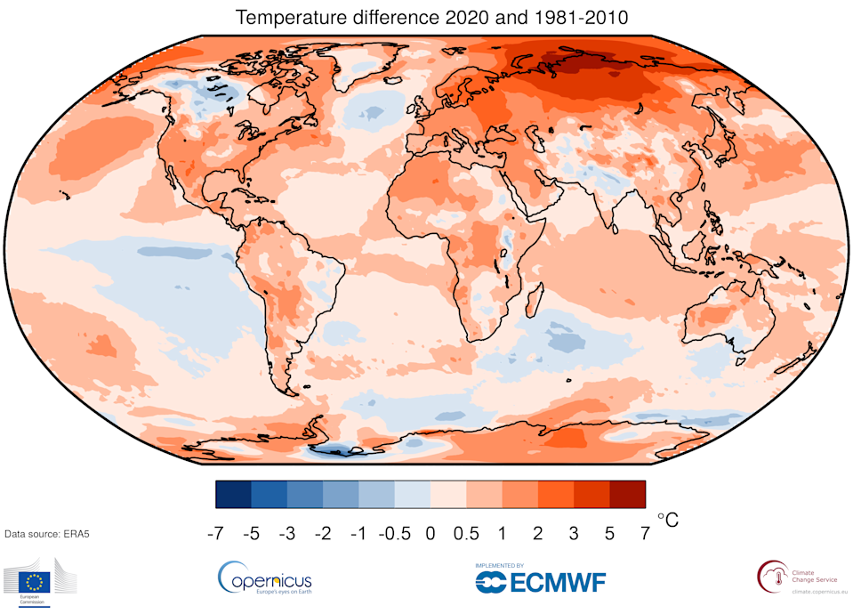 C3S data showing how temperatures have soared since the 80s. (C3S)