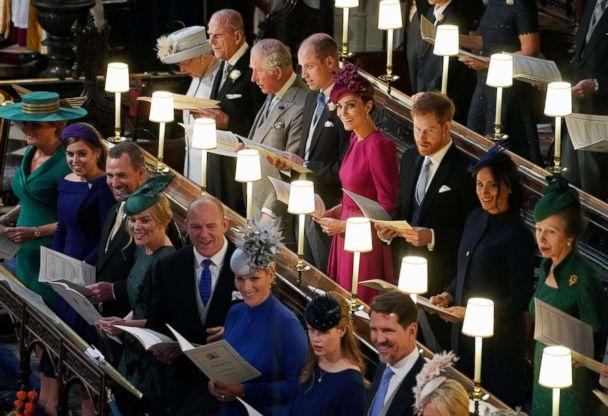 PHOTO: The Royal family at the wedding of Princess Eugenie and Jack Brooksbank at St George's Chapel in Windsor Castle, Windsor, Britain, Oct. 12, 2018. (Owen Humphreys/Pool via Reuters)