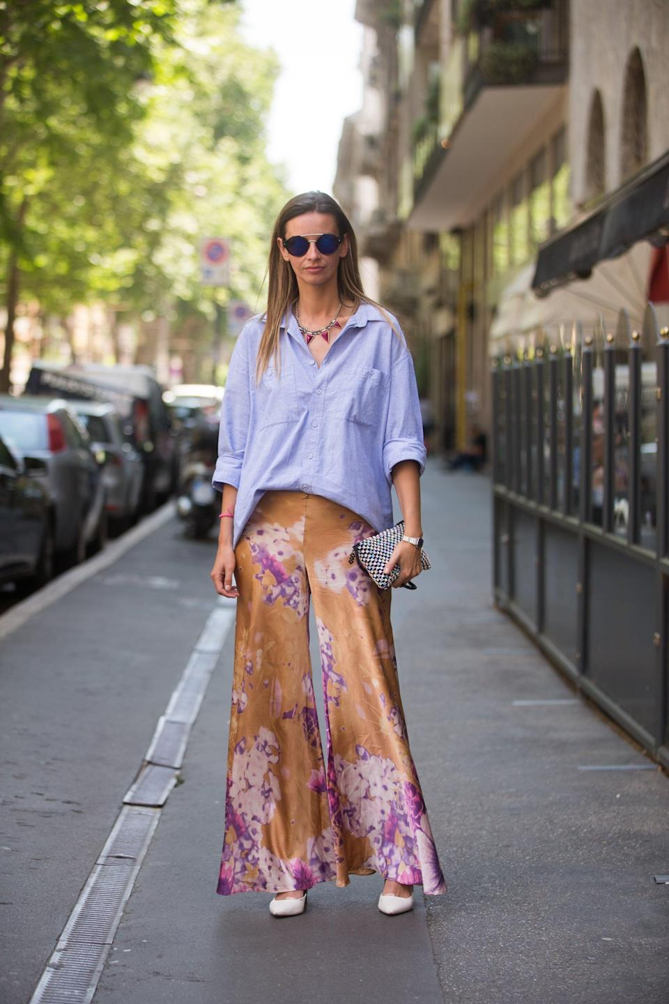 <p>A menswear-inspired button-down helped dress down a fabulous pair of billowing pants.</p>
