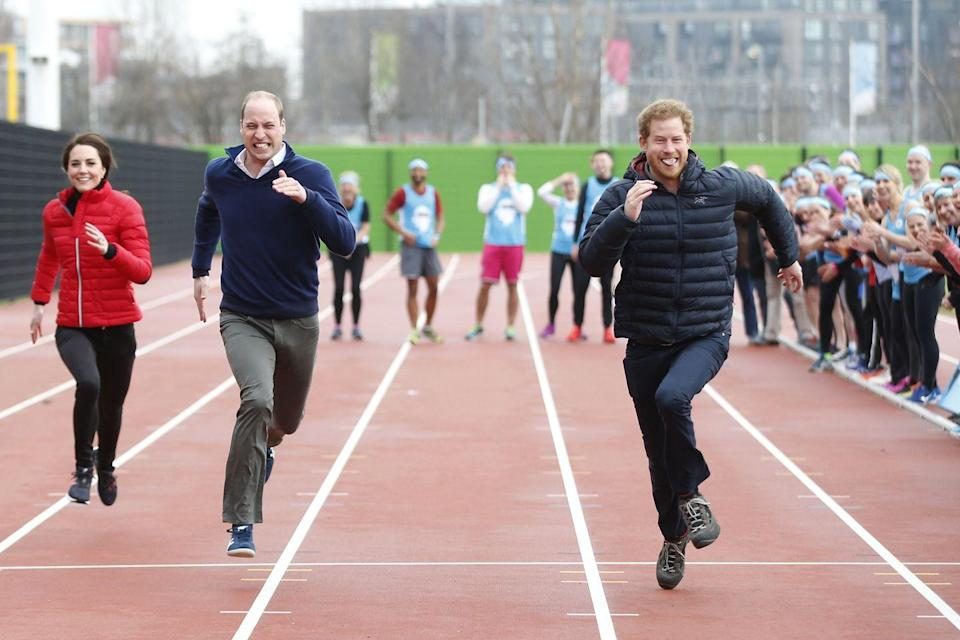 <p>It came to a photo finish when the Duke of Cambridge faced off against his brother in 2017. The Princes gave the sprint everything they had — which led to hilarious facial expressions. Also important to note: Kate Middleton is not far behind. </p>