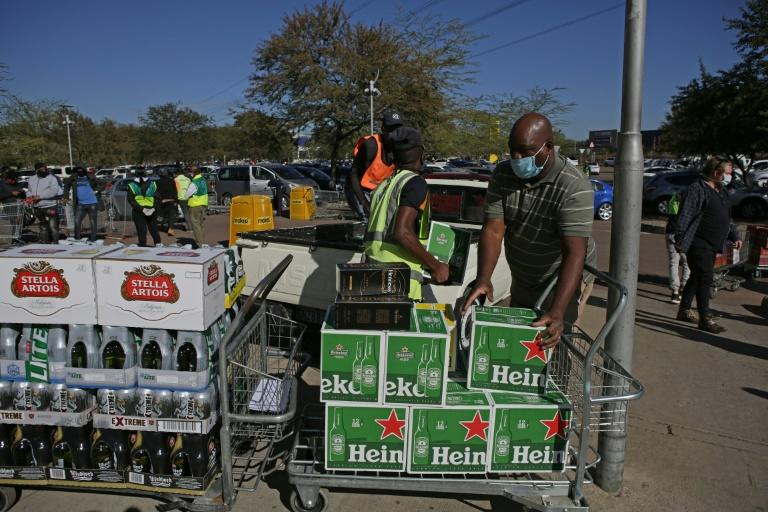 Some people made full use of the opening of liquor stores to load up with alcohol