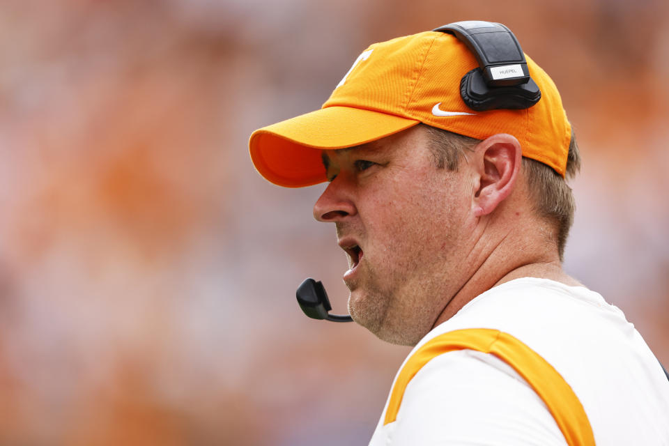 Tennessee head coach Josh Heupel watches action during the first half of an NCAA college football game against Tennessee Tech Saturday, Sept. 18, 2021, in Knoxville, Tenn. (AP Photo/Wade Payne)