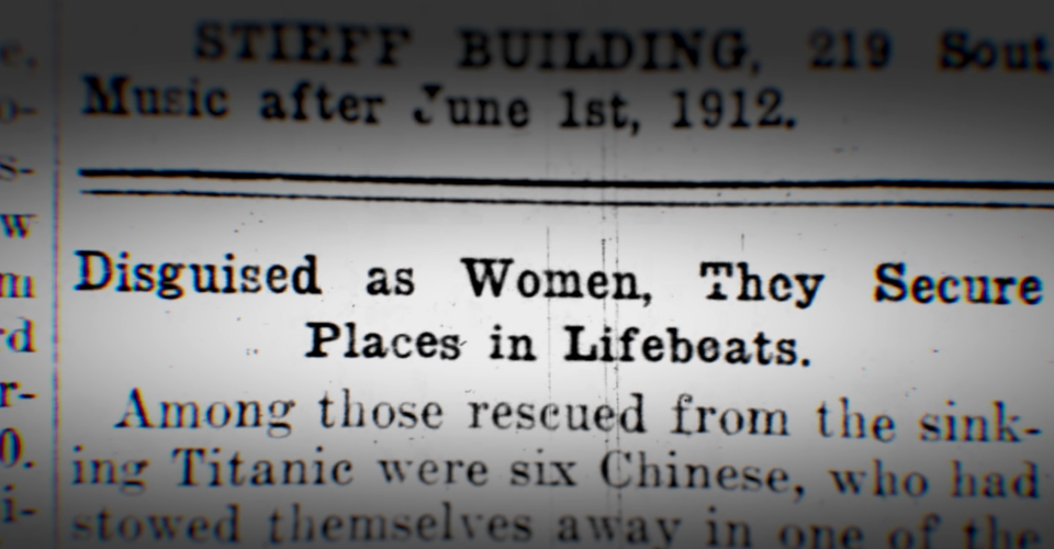 A newspaper excerpt of a story detailing the Chinese men's alleged behaviour to get on a lifeboat.