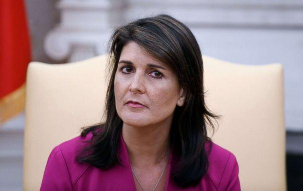 PHOTO: Nikki Haley, the United States Ambassador to the United Nations during a meeting with US President Donald Trump speaks in the Oval office of the White House, Oct. 9, 2018, in Washington, D.C. (Olivier Douliery/AFP/Getty Images)
