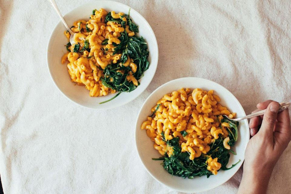 """<p>A bowl of mac and cheese is a great place to sneak in some healthy mix-ins (for the kids or yourself). Try adding sautéed mushrooms, wilted greens like kale or spinach, or roasted veggies like Brussels sprouts, cauliflower, or butternut squash.</p><p><strong>Get the recipe at <a href=""""https://sweetish.co/boxed-mac-cheese/"""" rel=""""nofollow noopener"""" target=""""_blank"""" data-ylk=""""slk:Sweetish.co."""" class=""""link rapid-noclick-resp"""">Sweetish.co.</a></strong></p>"""