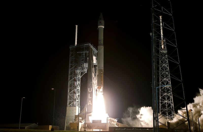 The Solar Orbiter spacecraft, built for NASA and the European Space Agency, lifts off from pad 41 aboard a United Launch Alliance Atlas V rocket  at the Cape Canaveral Air Force Station in Cape Canaveral