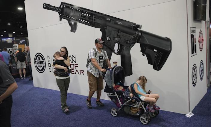 """<span class=""""element-image__caption"""">Attendees at the NRA convention in Atlanta in April.</span> <span class=""""element-image__credit"""">Photograph: Scott Olson/Getty Images</span>"""