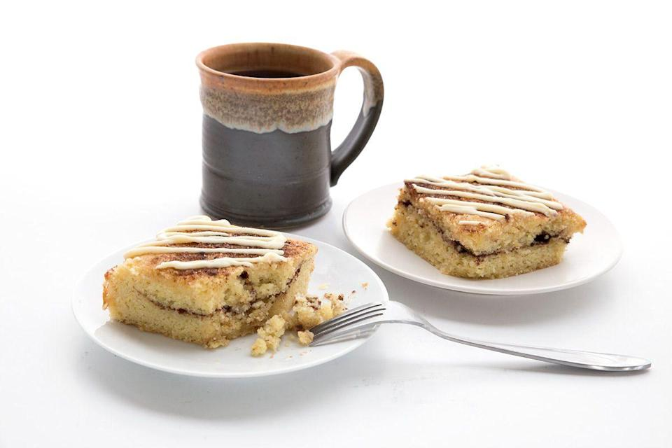 """<p>Let's be honest: You're digging into this for breakfast.</p><p><strong><a class=""""link rapid-noclick-resp"""" href=""""https://alldayidreamaboutfood.com/cinnamon-roll-coffee-cake/"""" rel=""""nofollow noopener"""" target=""""_blank"""" data-ylk=""""slk:Get the recipe"""">Get the recipe</a></strong></p><p><em>Per serving: 222 calories, 19.3 g fat, 5.4 g carbs, 2.2 g fiber, 7.2 g protein.</em></p>"""