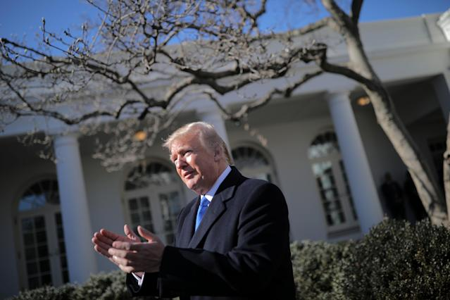 <p>President Donald Trump arrives to speak at the annual March for Life rally, taking place on the National Mall, from the White House Rose Garden in Washington, Jan. 19, 2018. (Photo: Carlos Barria/Reuters) </p>