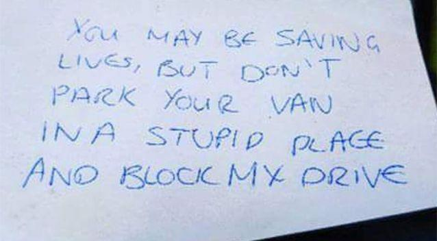 People were horrified by what the note said. Source: Twitter