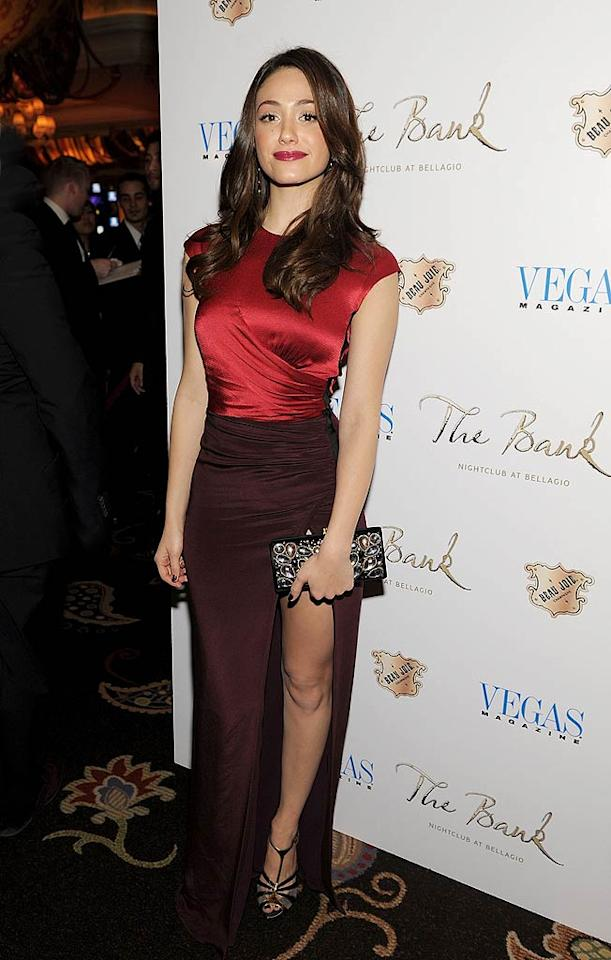 """Emmy Rossum turned heads at <i>Vegas Magazine's</i> February issue fete in a slit-enhanced Etro dress. The """"Shameless"""" star accessorized with a Temperley London clutch, strappy heels, and Ippolita earrings. Denise Truscello/<a href=""""http://www.wireimage.com"""" target=""""new"""">WireImage.com</a> - February 4, 2011"""