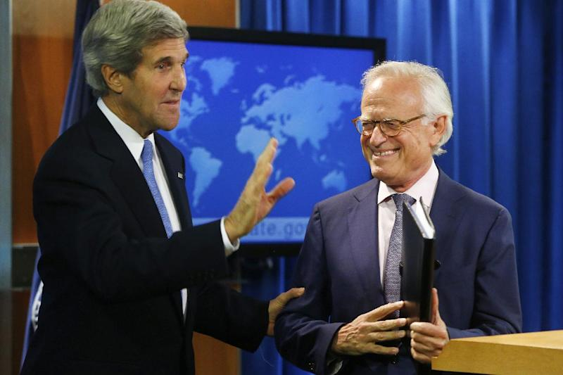 Secretary of State John Kerry stands with former U.S. Ambassador to Israel Martin Indyk at the State Department in Washington, Monday, July 29, 2013, as he announces that he Indyk will shepherd the Israeli-Palestinian peace talks. (AP Photo/Charles Dharapak)