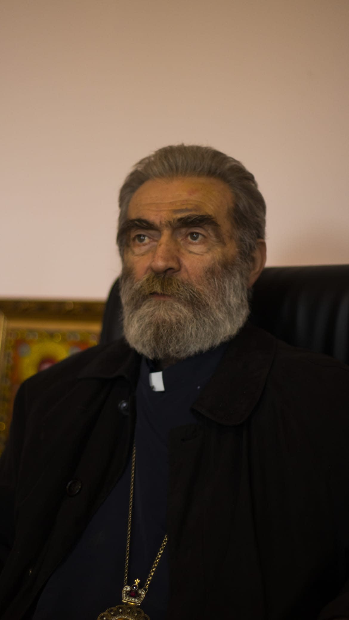 """<div class=""""inline-image__caption""""> <p>Archbishop Pargev Martirosyan travels around Nagorno-Karabakh to incite hope into soldiers and civilians. He says that hope is founded in people here, which makes them strong.</p> </div> <div class=""""inline-image__credit""""> Emil Filtenborg </div>"""